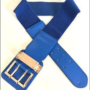 Vintage 90's.wide blue stretch belt w/gold buckle
